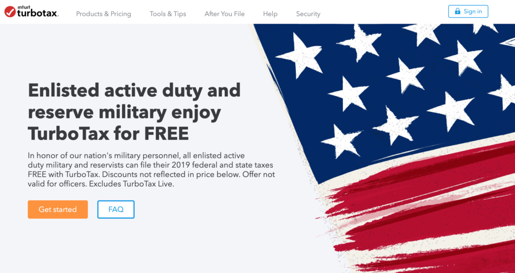 turbo tax military page